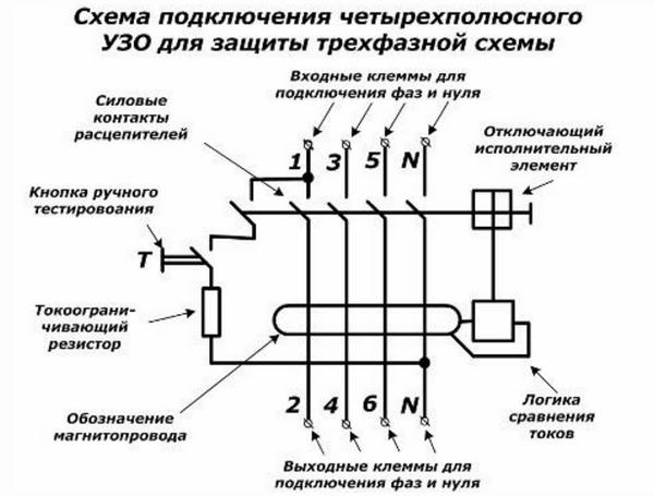 Схема подключения трехфазного дифференциального автомата