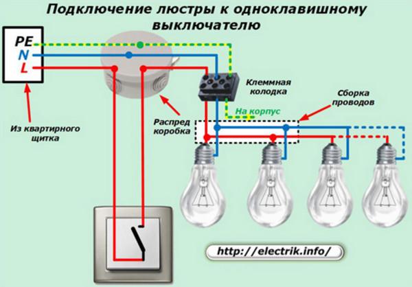 Схема расключения выключателя одноклавишного выключателя